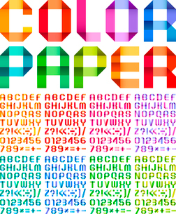 Spectral alphabet folded of ribbon paper colour. Set from eight different colors. Vector illustratioのイラスト素材 [FYI03119487]