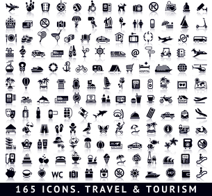 165 icons. Travel and Tourism with reflectionのイラスト素材 [FYI03119490]