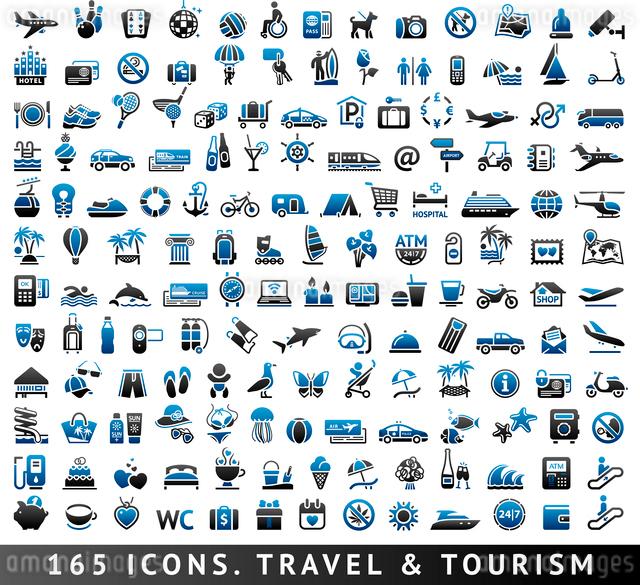 165 bicolor icons. Travel and Tourism, blue symbolsのイラスト素材 [FYI03119491]
