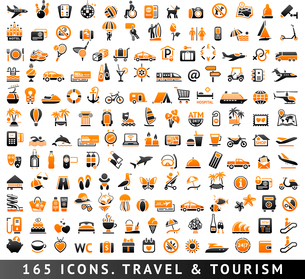 165 bicolor (orange and gray) icons. Travel and Tourismのイラスト素材 [FYI03119493]