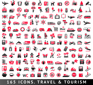 165 two-color icons. Vacation, Recreation & Travel, Tourism and Sport. Vector illustrations, setのイラスト素材 [FYI03119494]