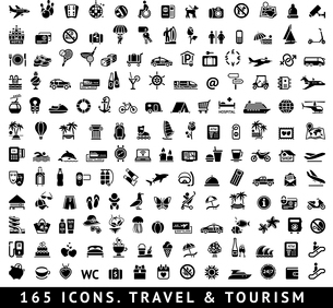 165 icons. Travel symbol and Tourism pictograms, vector illustrationのイラスト素材 [FYI03119496]