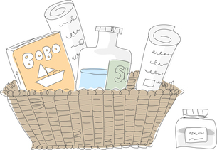 The illustration of basket and stationeryのイラスト素材 [FYI03119526]