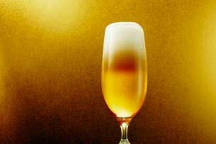 金色背景のグラスのビールの写真素材 [FYI03119559]
