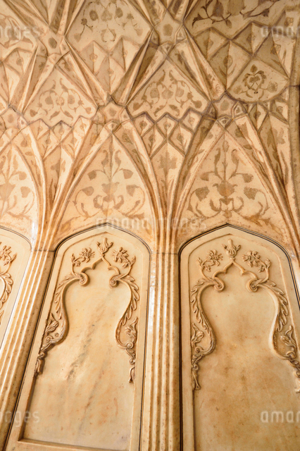アグラ城カース・マハル内部の象嵌細工装飾の写真素材 [FYI03119588]