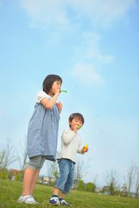 シャボン玉で遊ぶ姉弟の写真素材 [FYI03119632]