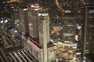 夜景空撮 名古屋駅ビル群の写真素材 [FYI03120059]