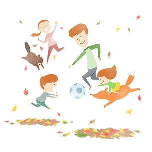 紅葉のなか動物たちとサッカーを楽しむ家族のイラスト素材 [FYI03120157]