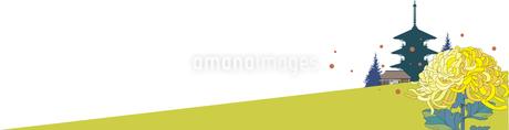 菊の花と寺院の風景の背景のイラスト素材 [FYI03120841]