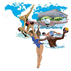 水泳、シンクロ、飛び込み世界選手権のイラスト素材 [FYI03121013]