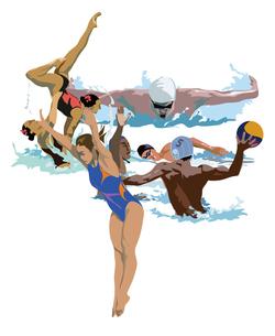 水泳競技とオリンピックのイラスト素材 [FYI03121015]