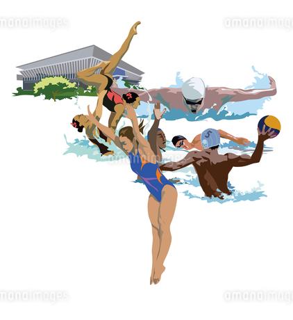 水泳競技とオリンピックのイラスト素材 [FYI03121020]