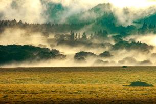 霧ヶ峰高原光芒射す八島ヶ原湿原山肌と湿原の草紅葉の写真素材 [FYI03121731]