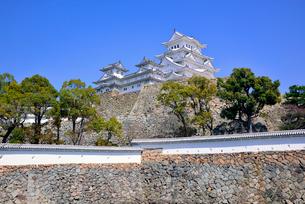 姫路城の連立天守群と石垣の写真素材 [FYI03123018]