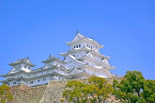 姫路城の連立天守群と石垣の写真素材 [FYI03123019]