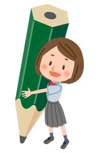 鉛筆と夏服の学生のイラスト素材 [FYI03123156]