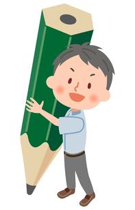 鉛筆と夏服の学生のイラスト素材 [FYI03123157]