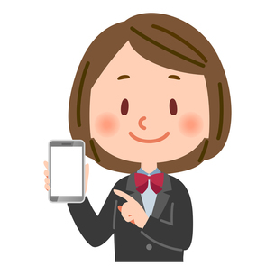 スマートフォン スマホ を持つ学生のイラスト素材 [FYI03123158]