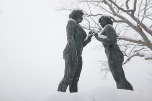 十和田湖の雪の中の像の写真素材 [FYI03123731]