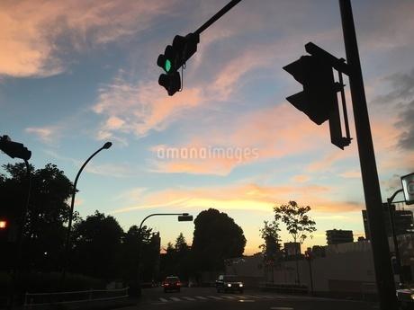夕日と交差点の信号機の写真素材 [FYI03123926]