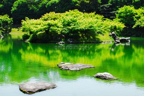 栗林公園、南湖(なんこ) の楓嶼(ふうしょ)の写真素材 [FYI03124116]