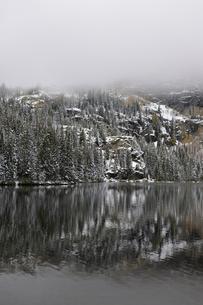 山に霧が立ち込める山岳部の湖と背景の針葉樹と残る黄葉の写真素材 [FYI03124323]