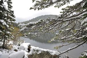降雪後の山岳部の湖の景観の写真素材 [FYI03124369]