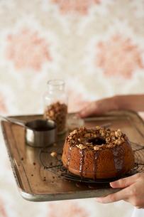 チョコソースとナッツをかけるチョコレートシフォンケーキの写真素材 [FYI03124589]