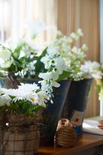 卓上に置かれた白い花の写真素材 [FYI03124611]