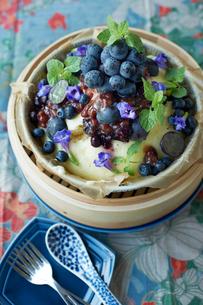 ブルーベリーやミントでデコレーション された蒸しケーキの写真素材 [FYI03124619]