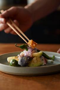梅肉で和えたタコと水ナスを盛り付けたところにもろみ味噌を添えているの写真素材 [FYI03124984]