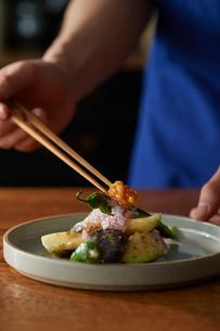 梅肉で和えたタコと水ナスを盛り付けたところにもろみ味噌を添えているの写真素材 [FYI03124985]