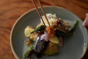 梅肉で和えたタコと水ナスを盛り付けたところにもろみ味噌を添えているの写真素材 [FYI03124986]