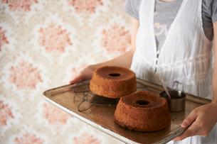 ミルクチョコシフォンケーキとココアシフォンケーキの写真素材 [FYI03125015]