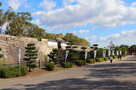 旗がなびく大阪城公園の写真素材 [FYI03125489]