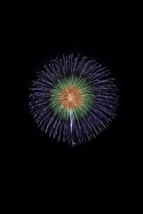 常総きぬ川花火大会 メッセージ花火 8号玉 三重芯引先青白の写真素材 [FYI03125632]