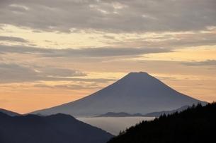 富士山 朝焼けの遠望の写真素材 [FYI03126657]