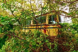 森に捨てられたバスの写真素材 [FYI03127005]