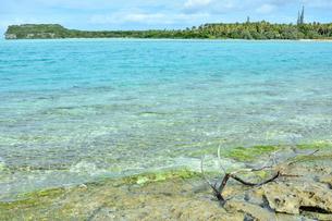 ニューカレドニア ウヴェア島の澄み切った青い海と岩礁と対岸のファヤワ島の写真素材 [FYI03127908]