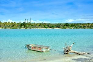 ニューカレドニア ウヴェア島の澄み切った青い海に浮かぶ手漕ぎ木製ボートとビーチに流れ着いた流木の写真素材 [FYI03127912]