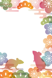 子年 和柄 年賀状 背景のイラスト素材 [FYI03127942]