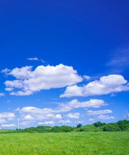 北海道 自然 風景 田園風景と風力発電風車と青空の写真素材 [FYI03128255]
