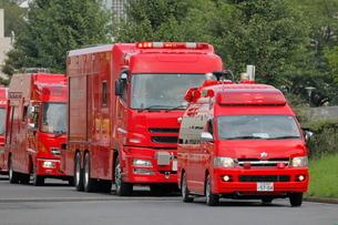 消防車の車列の写真素材 [FYI03128341]