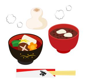 餅にお雑煮とお汁粉セットのイラスト素材 [FYI03128492]