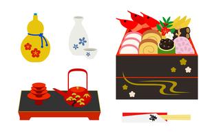 お正月のお屠蘇とおせち料理のイラスト素材 [FYI03128495]