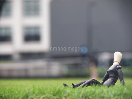 芝生の上で一息つく休憩中のビジネスマンの写真素材 [FYI03128898]