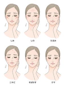 女性の顔 肌トラブルのイラスト素材 [FYI03129785]