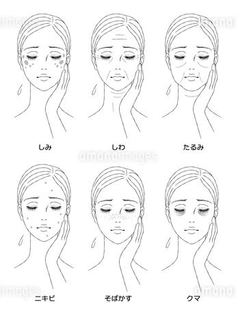 女性の顔 肌トラブルのイラスト素材 [FYI03129786]