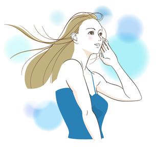 風で髪がなびく女性のイラスト素材 [FYI03130281]