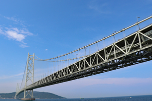 明石海峡大橋と淡路島の写真素材 [FYI03130915]